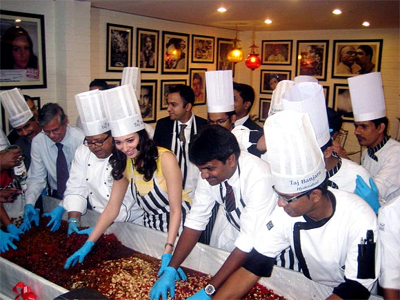 Tamannaah Bhatia does a cake mixing