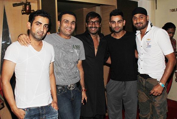 Gautam Gambhir, Virender Sehwag, Ajay Devgn, Virat Kohli and Harbhajan Singh