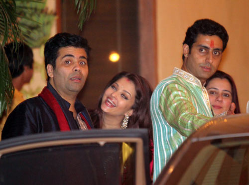 Karan Johar, Aishwarya Rai, Abhishek Bachchan and Shrishti Arya