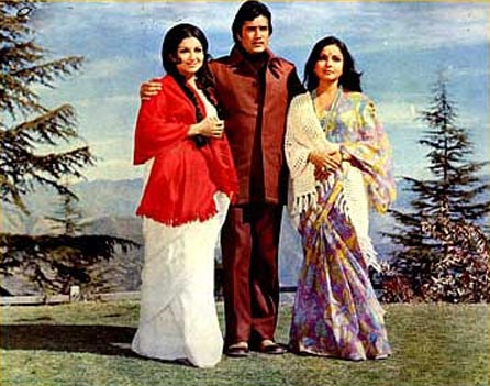 Sharmila Tagore, Rajesh Khanna and Raakhee in Daag: A Poem Of Love