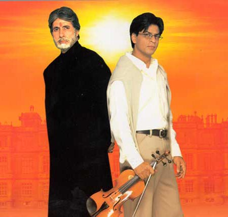 Amitabh Bachchan and Shah Rukh Khan in Mohabbatein