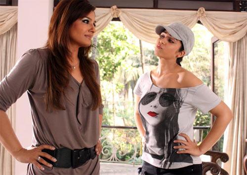 Raveena Tandon and Charmee in Bbuddha Hoga Tera Baap