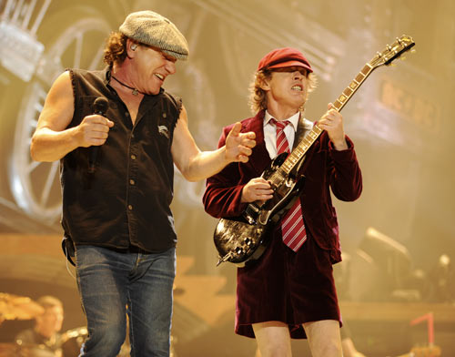 Malcolm Young (L) and Angus Young of AC/DC perform on stage