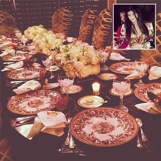 The Kardashian Thanksgiving dinner table. Inset: Kylie Jenner with mum Kris Jenner