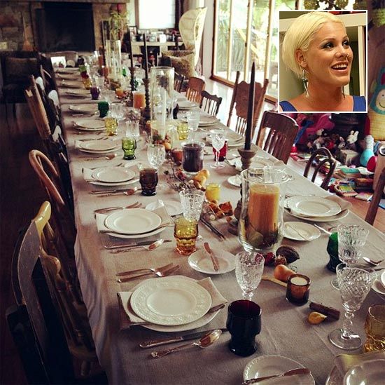 Singer P!nk's dinner table arrangement for Thanksgiving. Inset: P!nk
