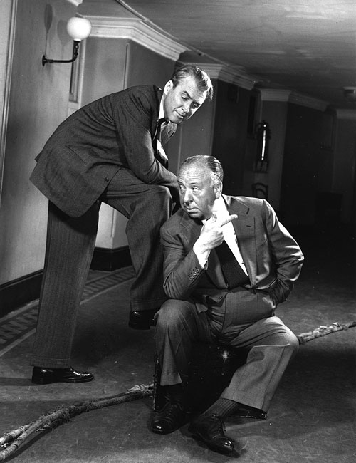 Alfred Hitchcock with James Stewart