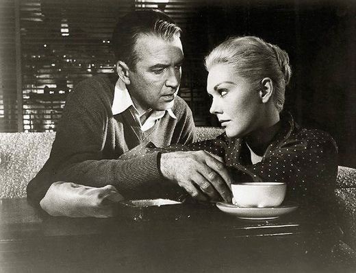 Janes Stewart and Kim Novak in Vertigo