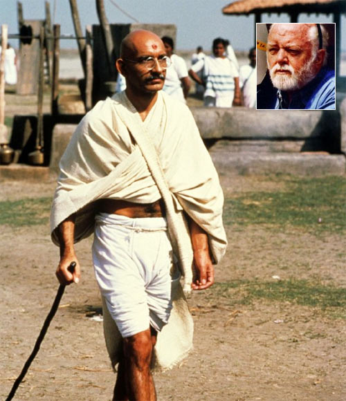 A scene from Gandhi. Inset: Sir Richard Attenborough
