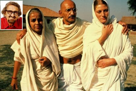 Ben Kingsley (Gandhi) flanked by Rohini Hattangady (Kasturba) and Geraldine James (Miraben). Inset: Alyque Padamsee