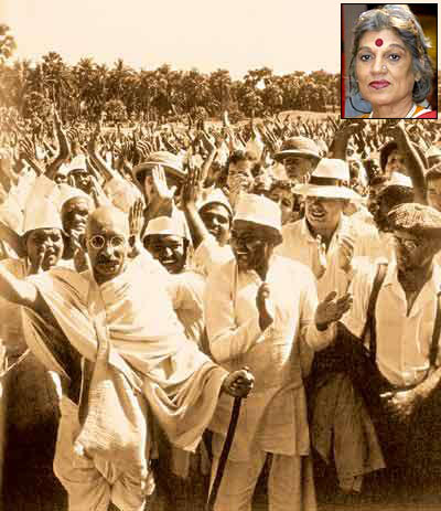 A scene from Gandhi. Inset: Dolly Thakore