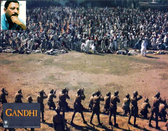 The Jallianwalla Bagh scene from Gandhi. Inset: John Matthew Mathan