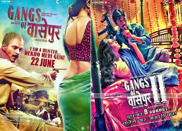 Movie posters of Gangs Of Wasseypur 1 and 2