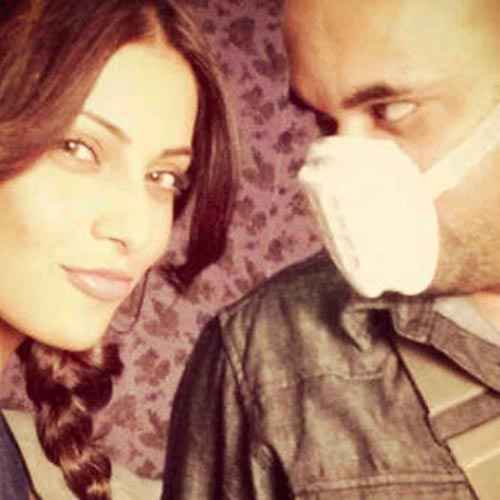 Suparn Verma and Bipasha Basu on the sets of Aatma
