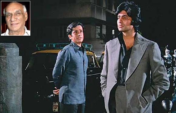 Shashi Kapoor and Amitabh Bachchan in Deewar. Inset: Yash Chopra