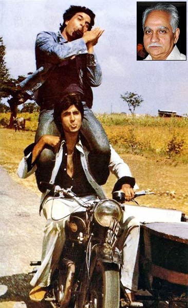 Amitabh Bachchan and Dharmendra in Sholay. Inset: Ramesh Sippy