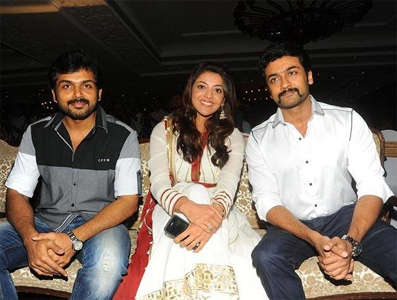 Karthi, Kaajal Agarwal and Suriya