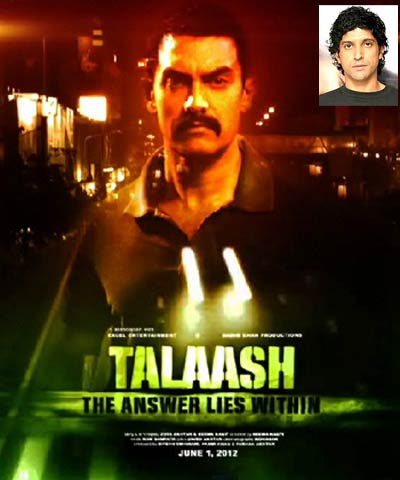 Movie poster of Talaash. Inset: Farhan Akhtar