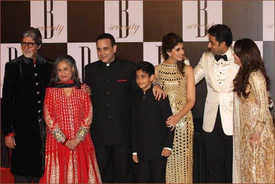 Amitabh and Jaya Bachchan, Nikhil Nanda with son Agastya and wife Shweta, and Abhishek and Aishwarya Rai Bachchan