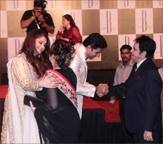 Aishwarya with Saira Banu, Abhishek with Dilip Kumar