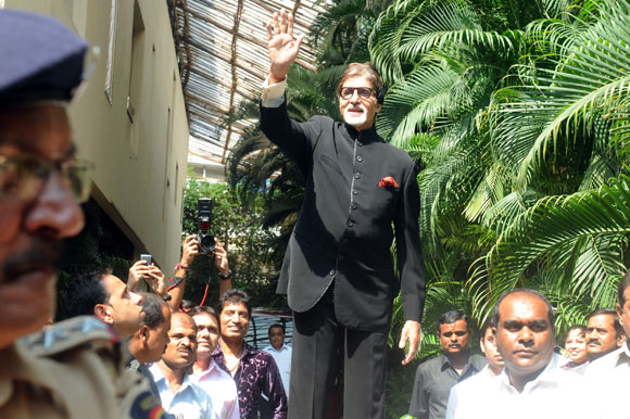 Amitabh Bachchan waves to his fans