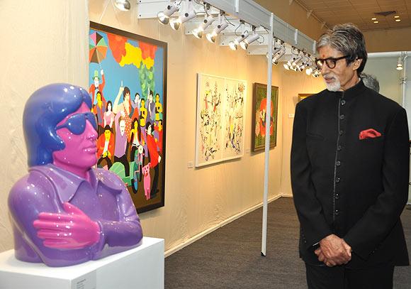 Amitabh Bachchan admires an art installation