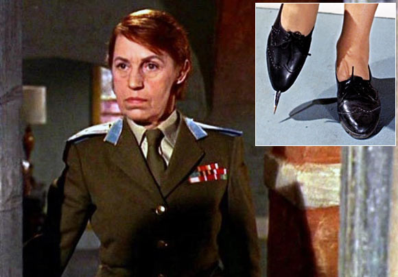 Lotte Lenya as Rosa Klebb in From Russia With Love. Inset: Knife flipped shoes