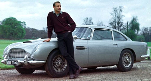 Sean Connery with the Aston Martin from Goldfinger