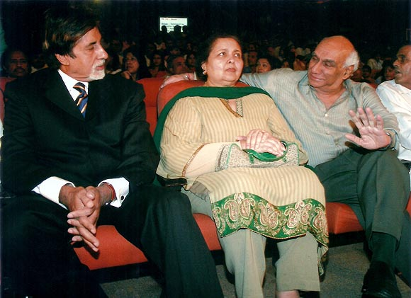 Amitabh Bachchan, Pamela Chopra and Yash Chopra