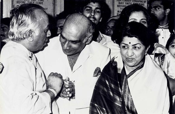 Rama Prasad Goenka, Yash Chopra and Lata Mangeshkar