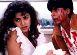 Juhi Chawla and Shah Rukh Khan in Darr