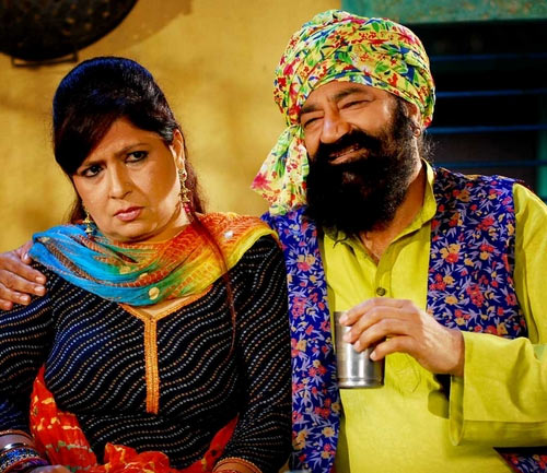 Jaspal Bhatti with wife Savita