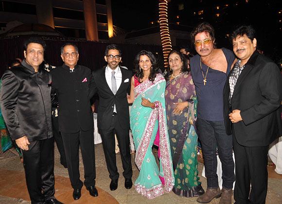 Govinda, Pahlaj Nihalani, Chirag, Radhika, Mrs Nihalani, Shakti Kapoor and Udit Narayan