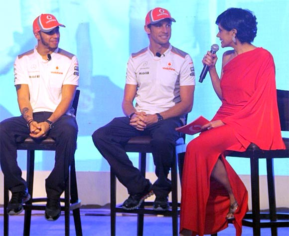 Lewis Hamilton, Jenson Button and Mandira Bedi