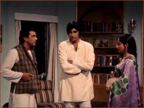 Dharmendra, Amitabh Bachchan and Sharmila Tagore in Chupke Chupke