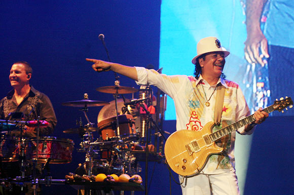 Carlos Santana performs during his concert in Delhi