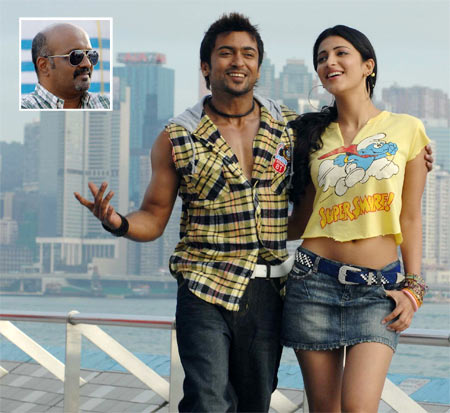Suriya and Shruti Haasan in 7aam arivu. Inset: Ravi K Chandran