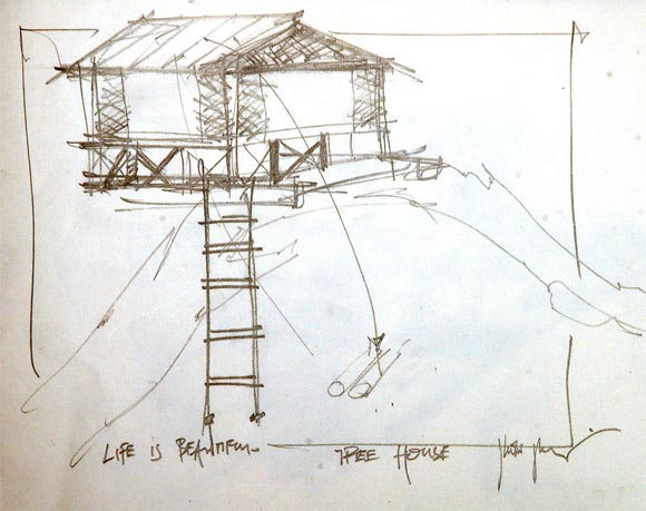 The sketch of the tree house