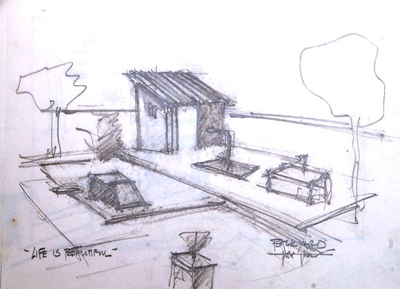 The sketch of the backyard