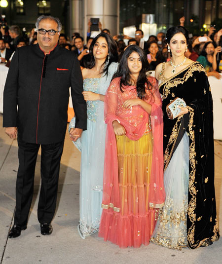 Boney Kapoor, Jhanvi, Khushi and Sridevi at the premier of English Vinglish i at Toronto International Film Festival