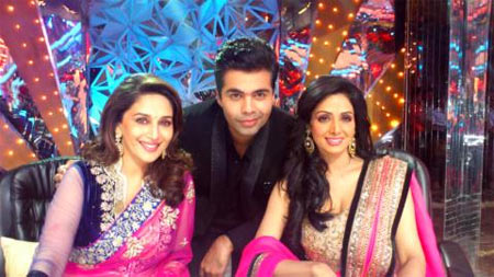 Madhuri Dixit, Karan Johar and Sridevi
