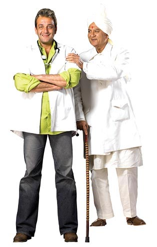 Sanjay Dutt with his father father Sunil Dutt in Munnabhai MBBS