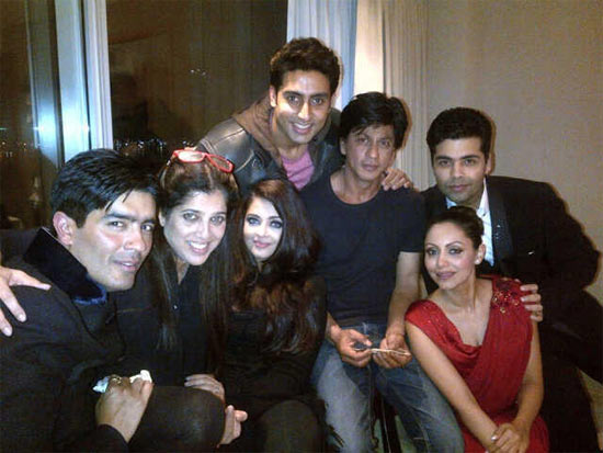Karan Johar with Shah Rukh Khanm Gauri, Aishwarya and Abhishek Bachchan and a friend