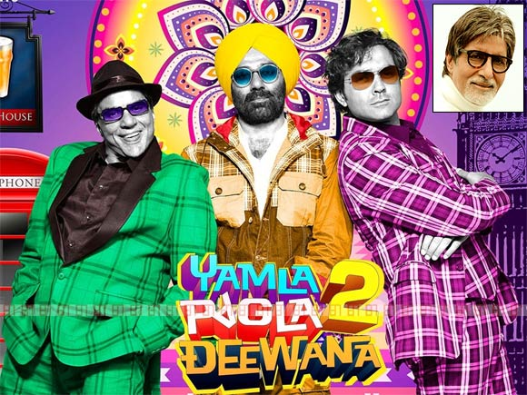 Movie poster of Yamla Pagla Deewana 2. Inset: Amitabh Bachchan