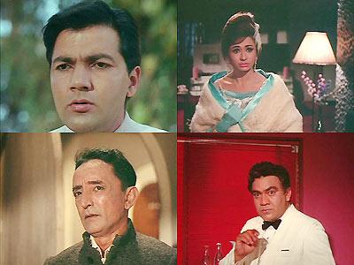 Clockwise: Prem Chopra, Helen, Premnath and Rashid Khan