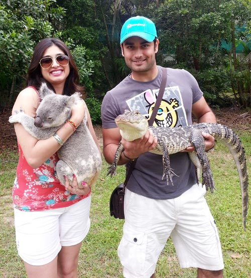 Vahbbiz and Vivian Dsena at the zoo