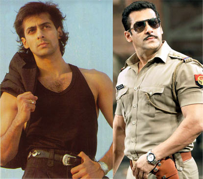 Salman Khan in Maine Pyar Kiya and Dabangg 2