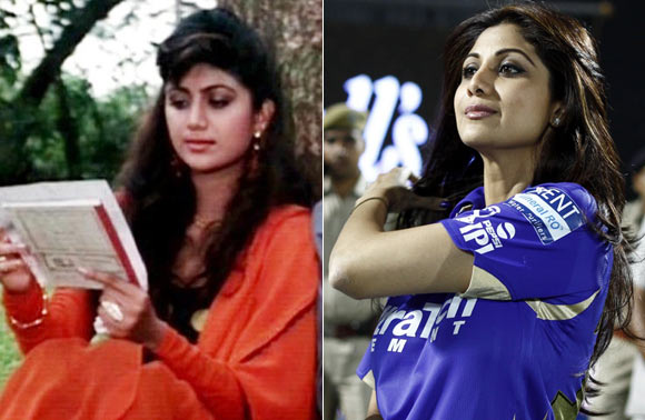 Shilpa Shetty in Baazigar and at a recent IPL match
