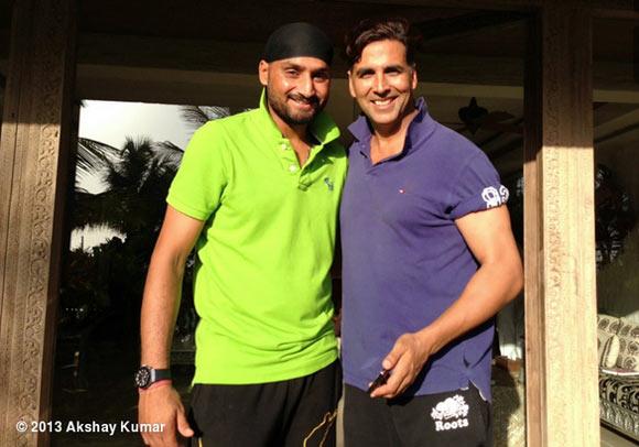 Harbhajan Singh and Akshay Kumar