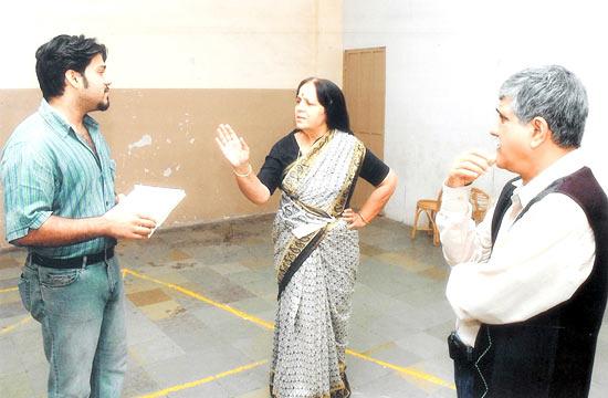 Rohini Hattangady with son Aseem (left) and husband Jayadev