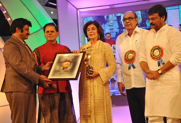 Bala Krishna, T Subhrami Reddy, Zeenat Aman, Venkatesh's father D Ramanaidu and Chiranjeevi.